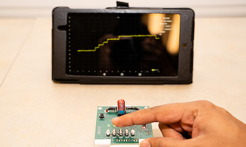 A photo of the sensing model created at Purdue that works with ML for applications like e-cars and home design.